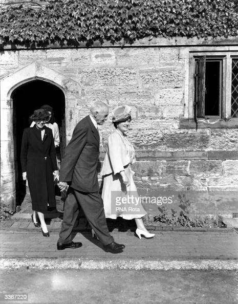 Queen Elizabeth Queen Consort to King George VI visiting Sackville College East Grinstead whilst on a tour of Surrey accompanied by Lieutenant...