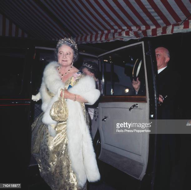 Queen Elizabeth The Queen Mother arrives at the Embassy of Japan in London for an official dinner hosted by Emperor Hirohito of Japan in October 1971...