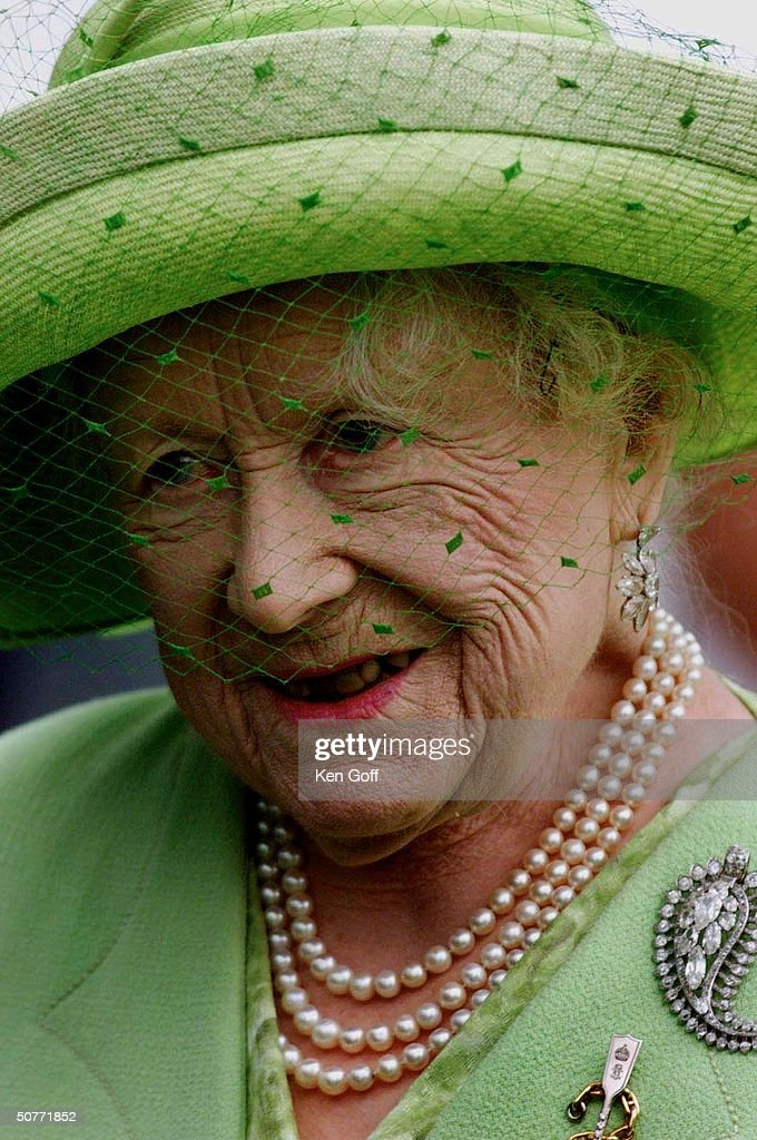 Queen Elizabeth, The Queen Mother, arriving in Dover for presentation of scroll by the Confederation of Cinque Ports as part of her 100th birthday celebration.