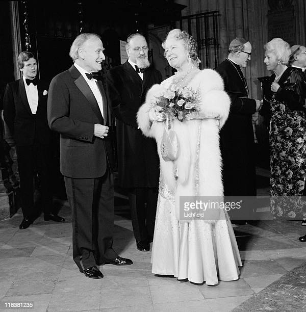 Queen Elizabeth The Queen Mother at Westminster Abbey With American born conductor violinist and writer Yehudi Menuhin and Prussion born Chief Rabbi...