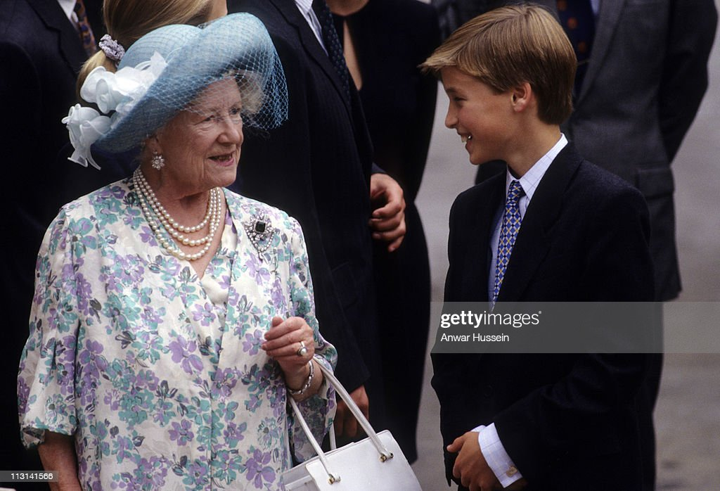 Queen Elizabeth The Queen Mother chats to Prince William outside Clarence House on her 94th birthday on August 4, 1994 in London, England.