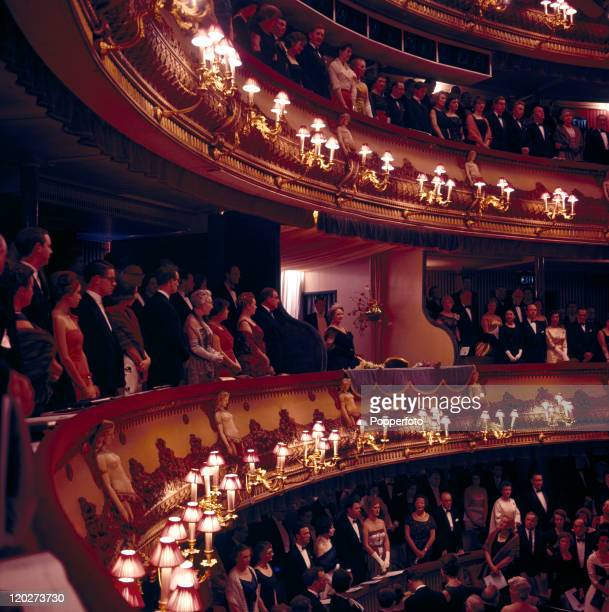 Queen Elizabeth The Queen Mother in the Royal Box at Covent Garden Opera House in London circa 1961
