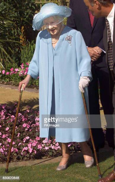 Queen Elizabeth The Queen Mother on a visit to The Centenary Garden at Capel Manor College at Enfield in Middlesex