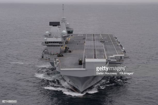 HMS Queen Elizabeth the Royal Navy's new aircraft carrier sets sail from Lossiemouth for the latest in a series of sea trials