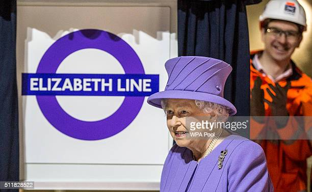 Queen Elizabeth visits the new Crossrail Bond street station which is still under construction on February 23 2016 in London England The Queen...