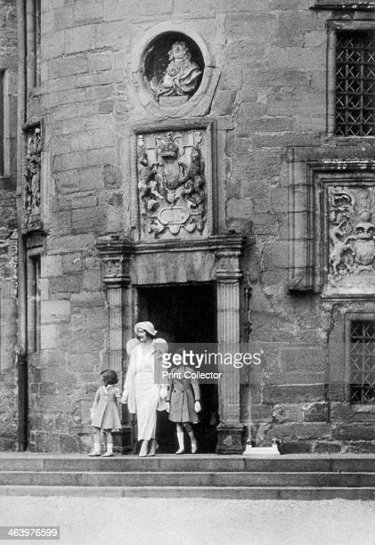 Queen Elizabeth with Princesses Elizabeth and Margaret Rose Glamis Castle Scotland 1937 A photograph from the Illustrated London News Coronation...
