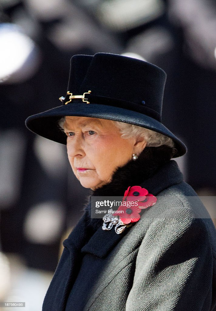Queen Elizbabeth II attends Remembrance Sunday at the Cenotaph on Whitehall on November 10, 2013 in London, England.