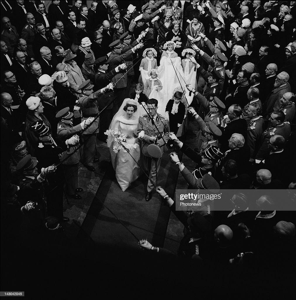 Queen Fabiola and King Baudouin of Belgium during their wedding on December 151960 in BrusselsBelgium