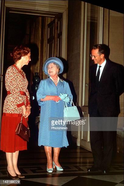 Queen Fabiola and King Baudouin of Belgium meet Queen Elisabeth of England