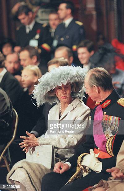 Queen Fabiola beside Grand Duke Jean of Luxembourg during the ceremony at the Town Hall