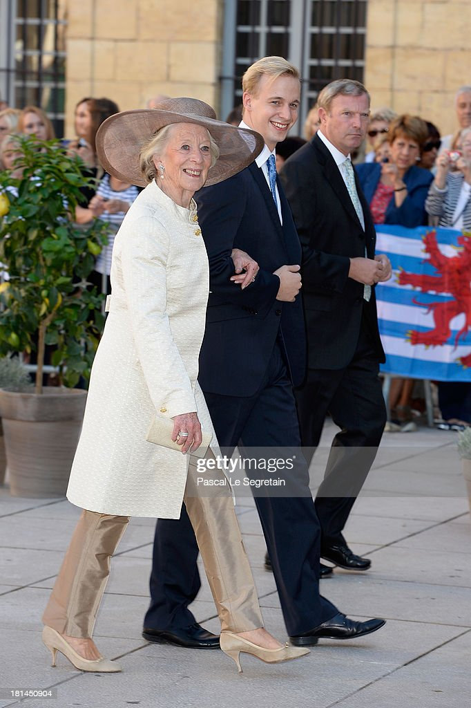 M. Queen Fabiola Of Belgium and guest attend the Religious Wedding Of Prince Felix Of Luxembourg and Claire Lademacher at the Basilique Sainte Marie-Madeleine on September 21, 2013 in Saint-Maximin-La-Sainte-Baume, France.