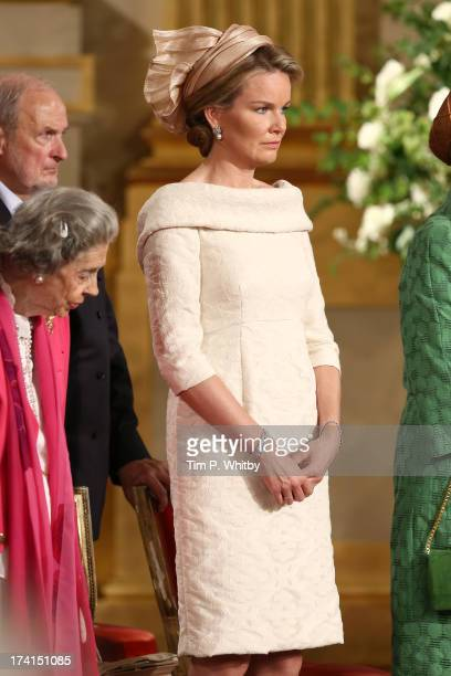 Queen Fabiola of Belgium and Princess Mathilde of Belgium seen during the Abdication Of King Albert II Of Belgium Inauguration Of King Philippe on...