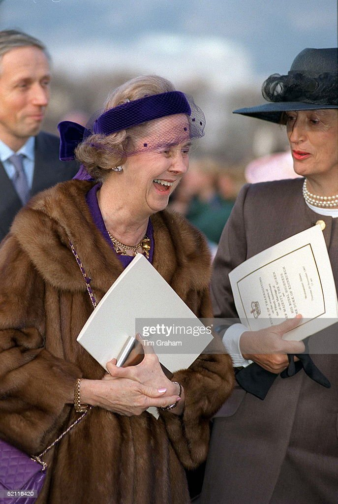 Queen Fabiola Of Belgium At A Lunch At The Royal Naval College, Greenwich For Members Of Royal Families And Guests Attending The Golden Wedding Anniversary Celebrations. At Right Is Lady Susan Hussey Lady In Waiting To British Queen Elizabeth II