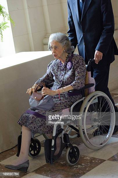 Queen Fabiola of Belgium attends a lunch for the jury of the Queen Elisabeth Musical Competition on on May 28 2013 in Brussels Belgium