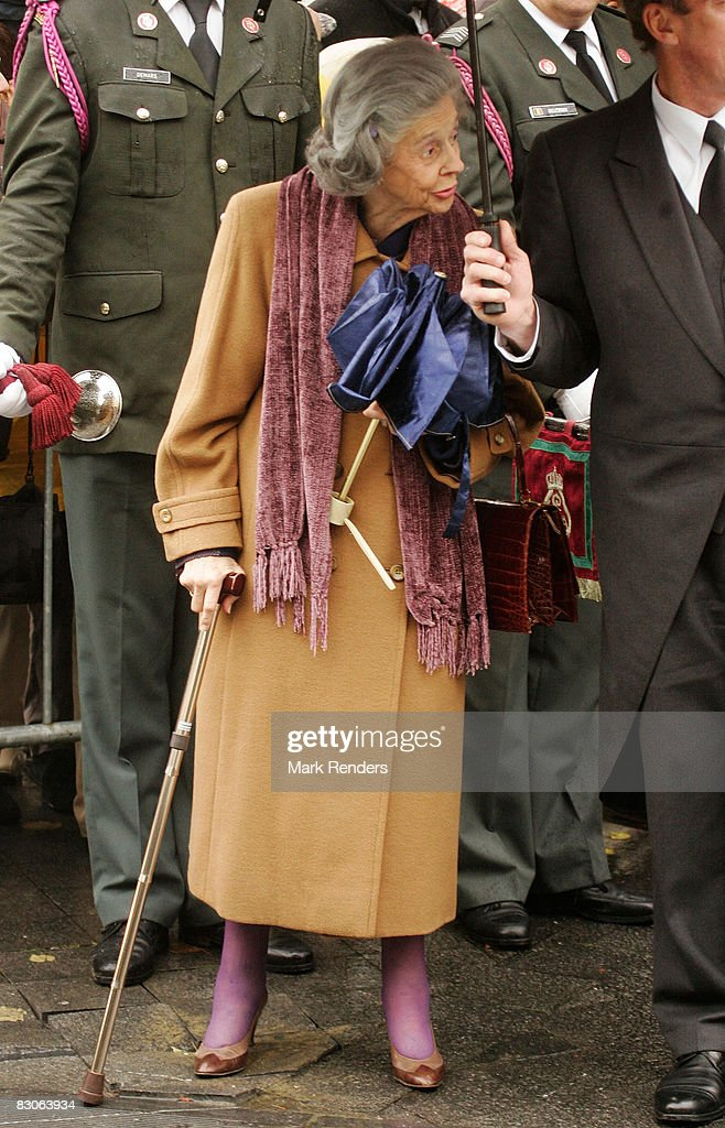 Queen Fabiola of Belgium attends the funeral of Patrick d'Udekem d'Acoz, Princess Mathilde's father, at Saint Pierre Church on September 30, 2008 in Bastogne, Belgium.