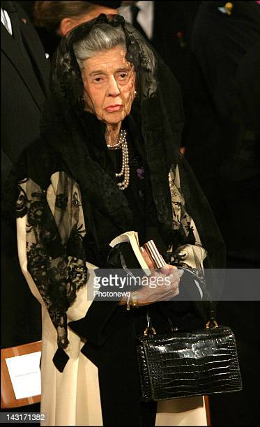 Queen Fabiola of Belgium attends the funeral of the Grand Duchess of Luxemburg JosephineCharlotte who died at the age of 77