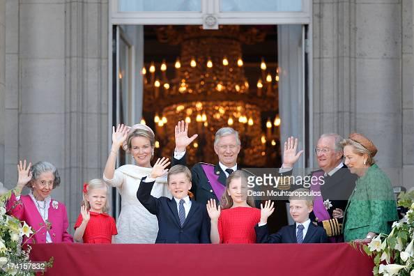 Queen Fabiola of Belgium Princess Eleonore of Belgium Prince Gabriel of BelgiumQueen Mathilde of BelgiumPrincess Elisabeth of Belgium King Philippe...