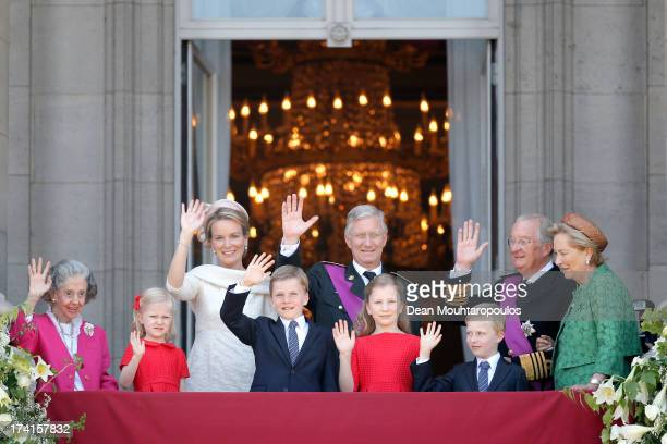 Queen Fabiola of Belgium Princess Eleonore of Belgium Prince Gabriel of BelgiumQueen Mathilde of BelgiumPrincess Elisabeth of Belgium King Philippe...