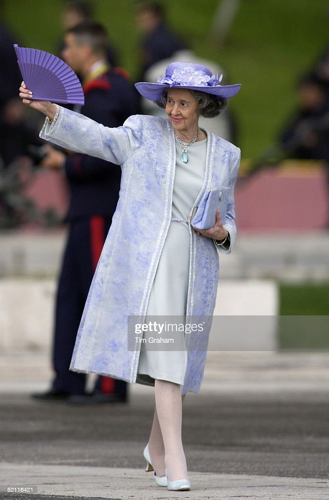 Queen Fabiola Of Belgium Waving Her Fan As She Arrives For The Spanish Royal Wedding