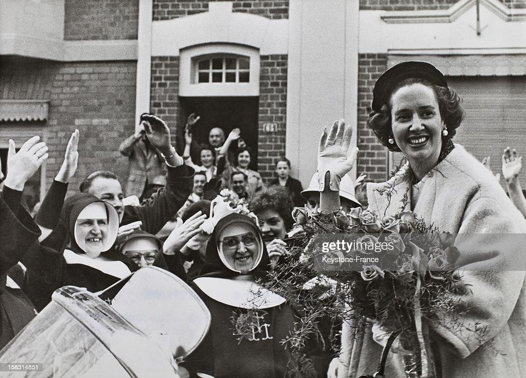 Queen Fabiola Of Belgium welcomed by the crowd in Eupen Belgium on May 6 1961