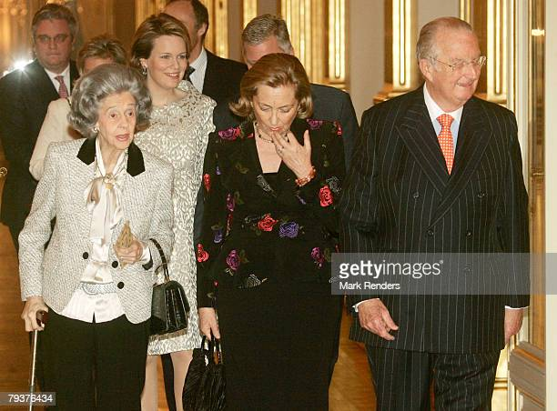Queen Fabiola Queen Paola King Albert Princess Mathilde Prince Philippe Princess Astrid and Prince Lorentz of the Belgian Royal Family arrive at the...