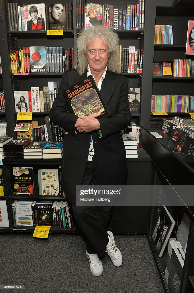 Queen guitarist and author <a gi-track='captionPersonalityLinkClicked' href=/galleries/search?phrase=Brian+May&family=editorial&specificpeople=158059 ng-click='$event.stopPropagation()'>Brian May</a> attends a signing for his book 'Diableries: Stereoscopic Adventures In Hell' at Book Soup on November 6, 2014 in West Hollywood, California.