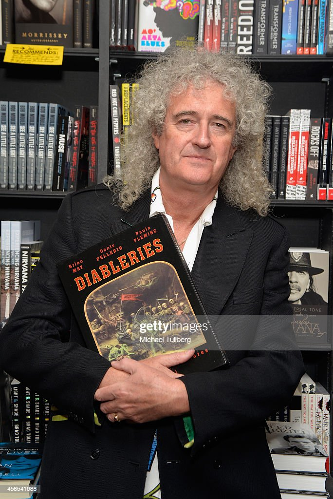 <a gi-track='captionPersonalityLinkClicked' href=/galleries/search?phrase=Queen+-+Band&family=editorial&specificpeople=221314 ng-click='$event.stopPropagation()'>Queen</a> guitarist and author <a gi-track='captionPersonalityLinkClicked' href=/galleries/search?phrase=Brian+May&family=editorial&specificpeople=158059 ng-click='$event.stopPropagation()'>Brian May</a> attends a signing for his book 'Diableries: Stereoscopic Adventures In Hell' at Book Soup on November 6, 2014 in West Hollywood, California.