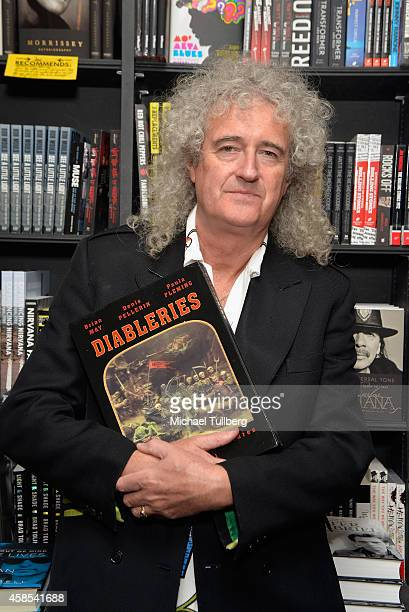 Queen guitarist and author Brian May attends a signing for his book 'Diableries Stereoscopic Adventures In Hell' at Book Soup on November 6 2014 in...