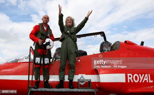 Queen guitarist Brian May after a training sortie with the Red Arrows at RAF Scampton in Lincolnshire