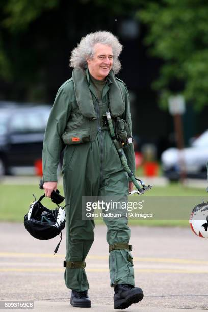 Queen guitarist Brian May arrives prior to flying in a training sortie with the Red Arrows at RAF Scampton in Lincolnshire
