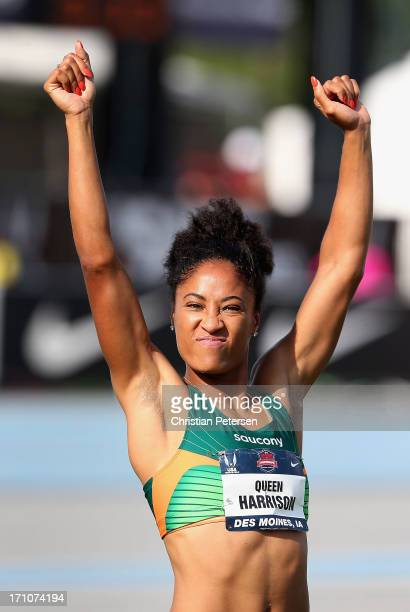 Queen Harrison celebrates after completing the Women's 100 Meter Hurdles on day two of the 2013 USA Outdoor Track Field Championships at Drake...