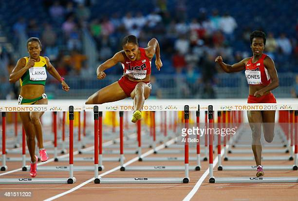 Queen Harrison of the USA wins the Women's 100m hurdle Finals at the Pan Am Games on July 21 2015 in Toronto Canada