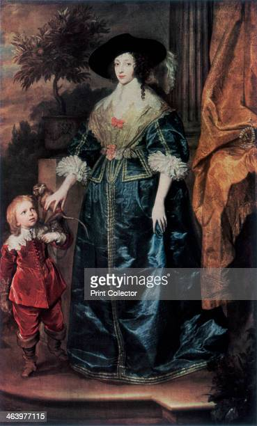 'Queen Henrietta Maria and her dwarf Sir Jeffrey Hudson' c1633 A print from Flemish and Belgian art 13001900 The Exhibition organised by the...