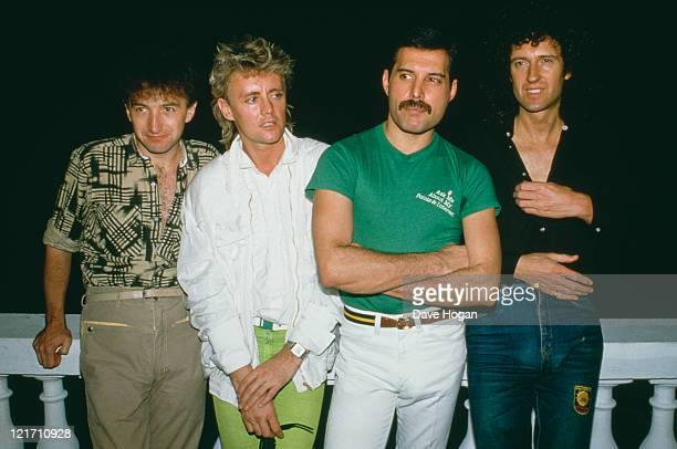 Queen in Rio to perform at the Rock in Rio festival Brazil January 1985 From left to right John Deacon Roger Taylor Freddie Mercury and Brian May