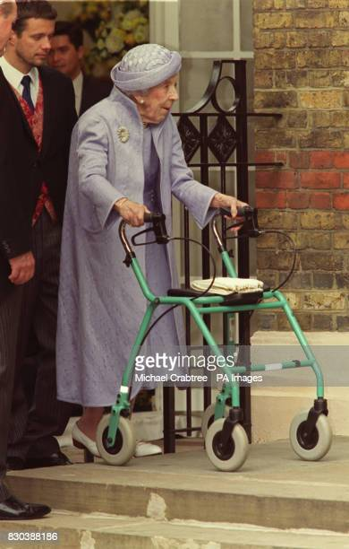 Queen Ingrid of Denmark arrives at the Greek Orthodox Cathedral of St Sophia in Bayswater west London for the wedding of Princess Alexia of Greece to...