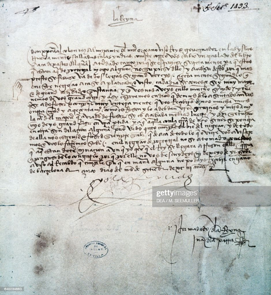 Queen Isabella     s letter to Christopher Columbus        Spain    th century  Seville  Getty Images