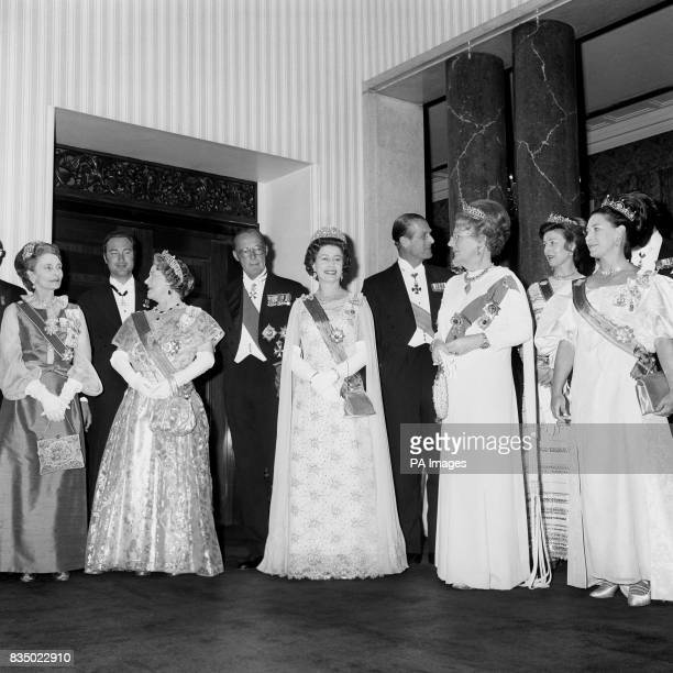 Queen Juliana and Prince Bernhard of the Netherlands with Queen Elizabeth II and the Duke of Edinburgh at the banquet they gave at Carpenters' Hall...