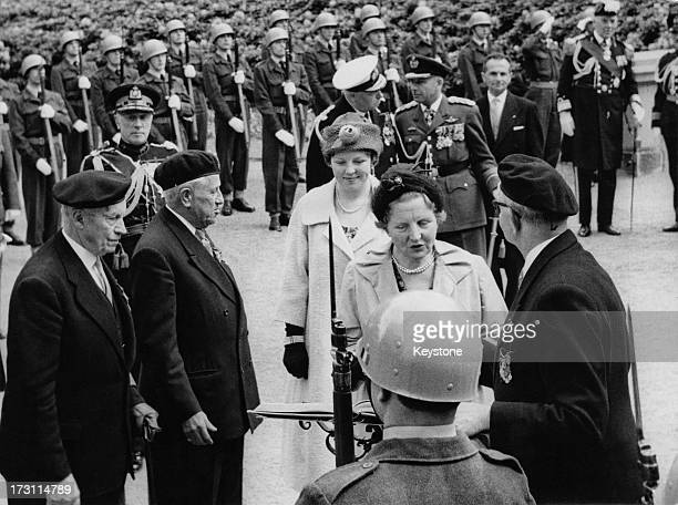 Queen Juliana and Princess Beatrix of the Netherlands arriving in Brussels at the start of their State Visit to Belgium 31st May 1960