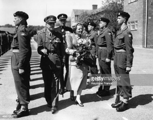 Queen Juliana inspects the Royal Sussex Regiment on May 8 1954 in Tidworth United Kingdom