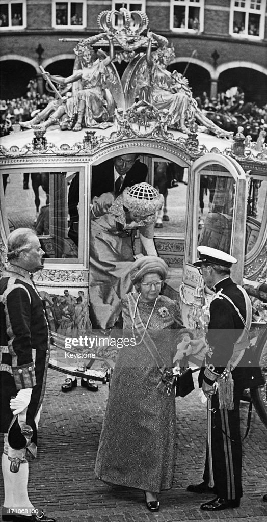 Queen Juliana of the Netherlands and Prince Bernhard arriving for the state opening of the Dutch Parliament in The Hague 18th September 1973 Behind...