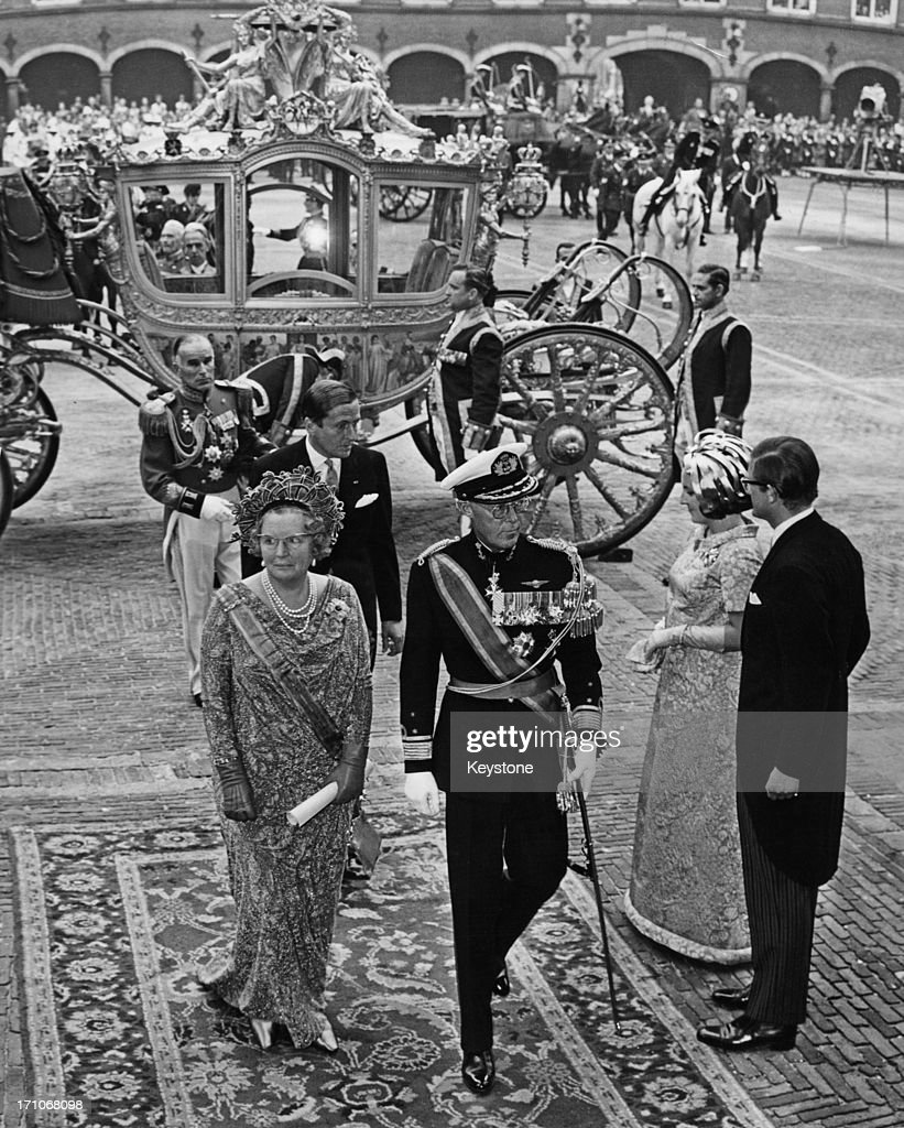 Queen Juliana of the Netherlands andPrince Bernhard arriving for the state opening of the Dutch Parliament in The Hague 16th September 1969 They are...