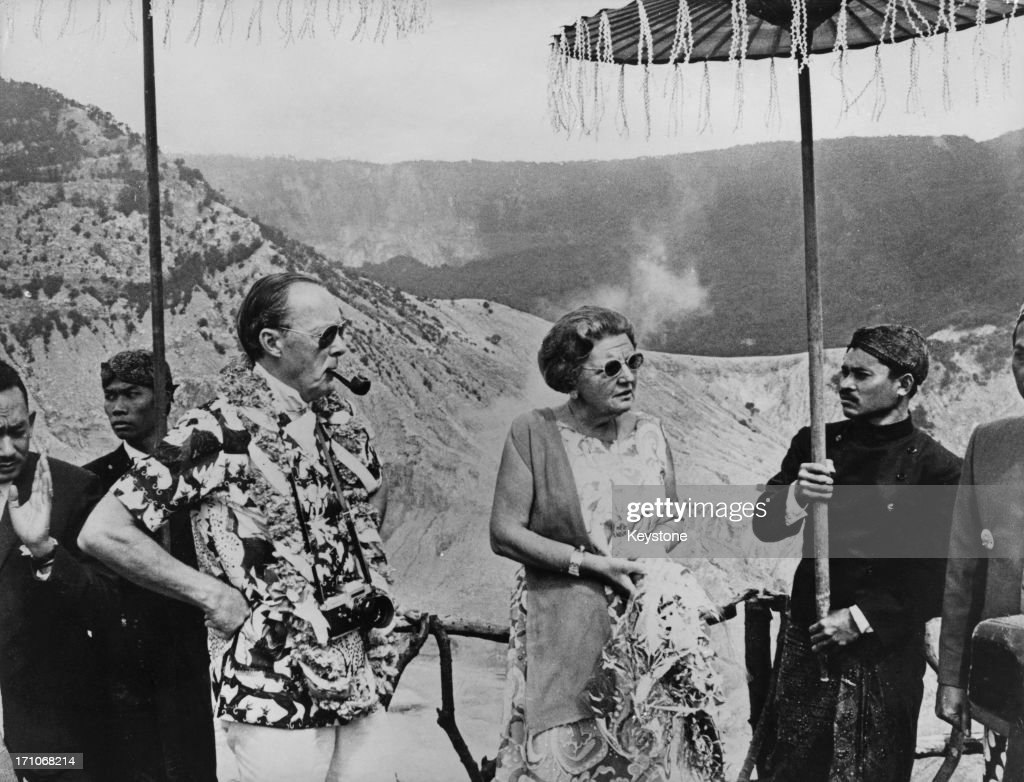 Queen Juliana of the Netherlands andPrince Bernhard at the dormant volcano Tangkuban Perahu in Bandung during their state visit to Indonesia 1st...