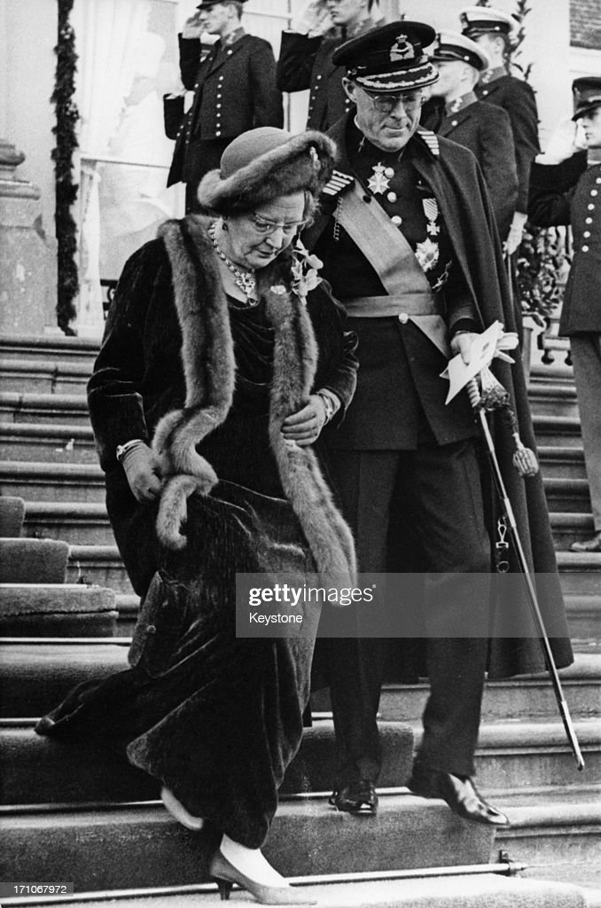 Queen Juliana of the Netherlands andPrince Bernhard leaving their residence at Huis ten Bosch for the solemnization of the wedding of Princess...