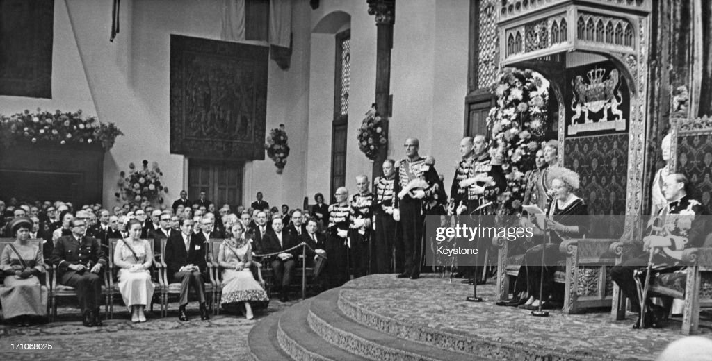 Queen Juliana of the Netherlands gives the Queen's Speech at the state opening of the Dutch Parliament in The Hague 19th September 1967 On the right...