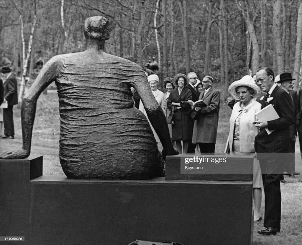 Queen Juliana of the Netherlands Prince Bernhard viewing a sculpture by Henry Moore at the KrollerMuller Museum in Otterlo Netherlands 3rd May 1968...