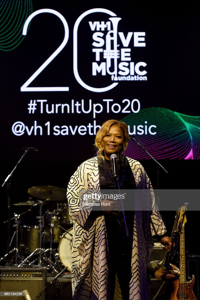 Queen Latifah accepts an award onstage at VH1 Save The Music 20th Anniversary Gala at SIR Stage37 on October 16, 2017 in New York City.