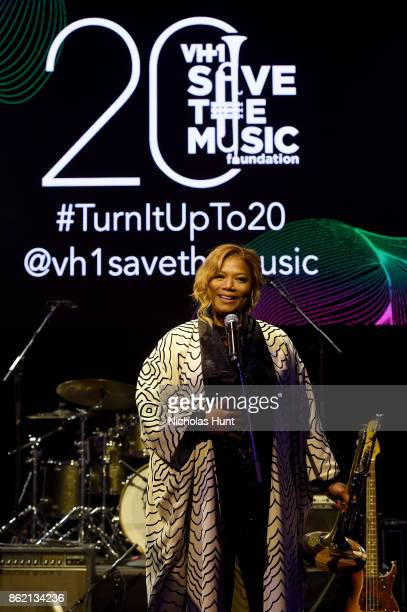 Queen Latifah accepts an award onstage at VH1 Save The Music 20th Anniversary Gala at SIR Stage37 on October 16 2017 in New York City