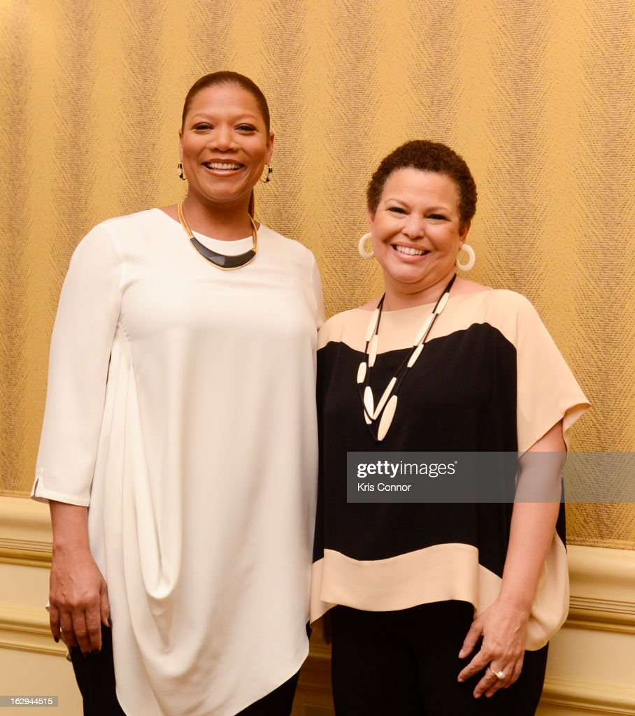 <a gi-track='captionPersonalityLinkClicked' href=/galleries/search?phrase=Queen+Latifah&family=editorial&specificpeople=171793 ng-click='$event.stopPropagation()'>Queen Latifah</a> and Debra Lee pose for a photo during the Leading Women Defined: Girl's Night Out at Ritz Carlton Hotel on March 1, 2013 in Washington, DC.