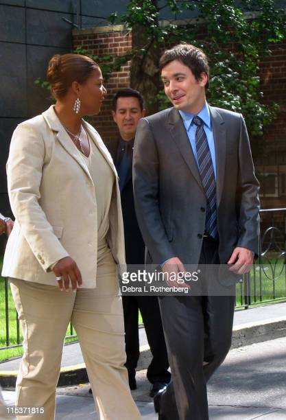 Queen Latifah and Jimmy Fallon during Queen Latifah and Jimmy Fallon Sighting in New York City September 26 2004 at Columbus Circle in New York City...