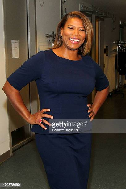 Queen Latifah poses backstage during the BET New York Upfronts on April 23 2015 in New York City